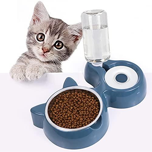 Ciotola per Gatti,2 in 1 Distributori Automatici di Cibo & Acqua per Gatti e Cani,Distributore Acqua Pet Feeder Automatico,Ciotole per Gatti Animali con Borracce,Ciotole per Cani Gatti (Blu)