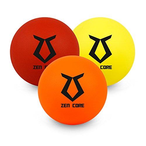 Zen Core Massageball Original - Faszien Ball innen hohl 3er Pack aus Gummi Gelb, Orange, Rot, gibt bei Druck etwas nach, Größe einzeln 6,5 x 6,5 cm für Triggerpunkt- & Faszienmassage