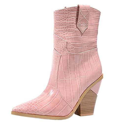 IceyZoey Damen Mode Westernstiefel Keilabsatz Pull on Cowboystiefel Knöchelhoch Party Schuhe Spitze Sommer Booties Dark-Pink Size 40 Asian