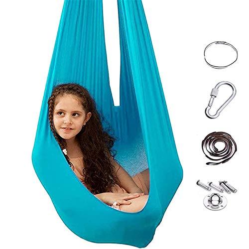 Swing De Terapia Elástica - Abrazo Profesional Hamgock Swing, Yoga De Anti-gravedad Swing Para Niños Con Autismo ADHD Aspergers Aspergers Integración Sensorial Light blue-280 * 150CM