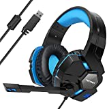 Gaming Headset TeckNet USB 7.1 Channel Surround Sound Over-Ear Gaming Headphones Headband With