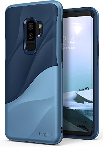 Ringke Wave Compatible with Galaxy S9 Plus Case Dual Layer Heavy Duty 3D Textured Shock Absorbent PC TPU Full Body Drop Resistant Protection Cover for Galaxy S 9 Plus (2018) - Coastal Blue