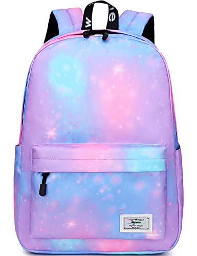 School Bags for Girls Boys, Mygreen Galaxy Water Resistant Durable Casual Basic Backpack for Students Purple