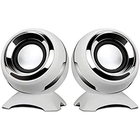Computer USB-Power Speakers,BVI BOOMERVIVI Mini Desktop Speakers with HiFi Sound,Superior Stereo Sound,Double Horn, Perfect for Computer,Laptop (White)