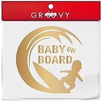 赤ちゃん 子供 乗ってます ステッカー baby in car サーフィン 海 ベビー イン カー 横乗り かわいい おしゃれ 車 ブランド アウトドア シール おもしろ グッズ_1186 (ゴールド)