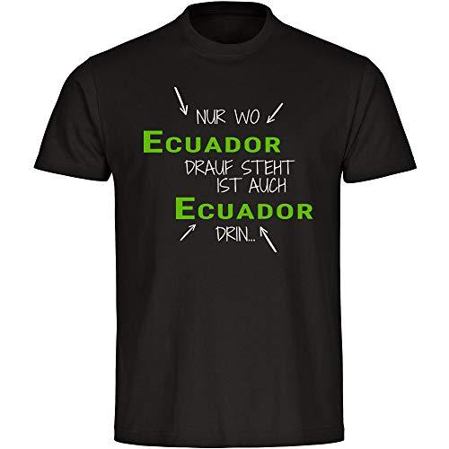 """Camiseta con texto en alemán """"Nur wo Ecuador Drauf Steht ist auch Ecuador drin schwarz Kinder Gr. 128 hasta 176. Negro  128 cm"""