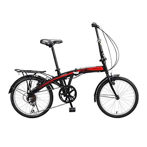 Bicicleta, Bicicleta PortáTil de 20 Pulgadas, Bicicleta de Viaje Diario, Frenos en V Dobles, TransmisióN de 7 Velocidades, Marco Plegable, para Trabajadores de Oficina/Estudiantes/A / 1