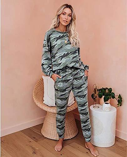 Pyjama Damen Nachthemd Schlafanzug Zweiteiliger Frauen-Pyjama Mit Leopardenmuster Und Krawatten-Set. Langärmlige Oberteile Und Lange Hosen. Nachtwäsche Lässige Nachtwäsche XL Camouflage