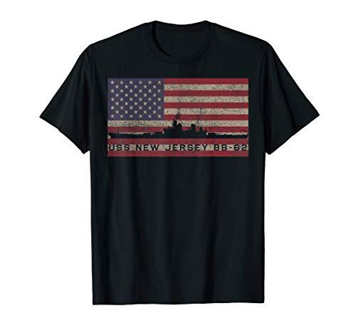 USS New Jersey BB 62 Battleship USA American Flag Gift T-Shirt