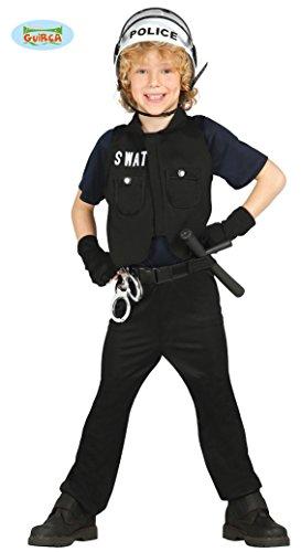 Guirca–Kostüm Polizei mit Weste und Hemd, für Kinder von 5–6Jahren, Schwarz (85647)