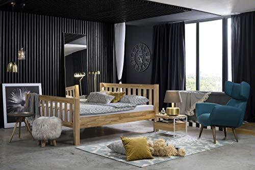 DICO Möbel Bondi Massivholzbett und Nachttisch, Holz, Metall, Kernbuche Geölt/Struktur Weiß, 210 x 106 x 100 cm