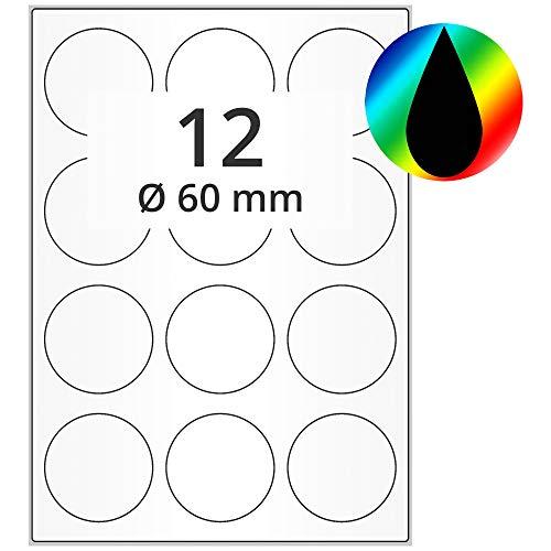 Labelident Inkjet Haftetiketten DIN A4 - Ø 60 mm - 1200 Papieretiketten selbstklebend auf 100 Blatt, hochglänzend, weiß, Tintenstrahl Etiketten beschichtet