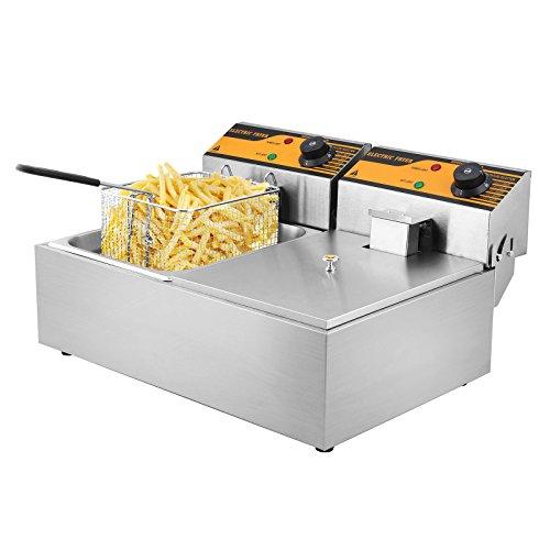 HODOY 5000W Friggitrice Elettrica Professionale Capacità 12L Friggitrice Patatine Fritte Friggitrice Per Cucinare In Casa O Negozio Con Doppia Vasche (YB-82)