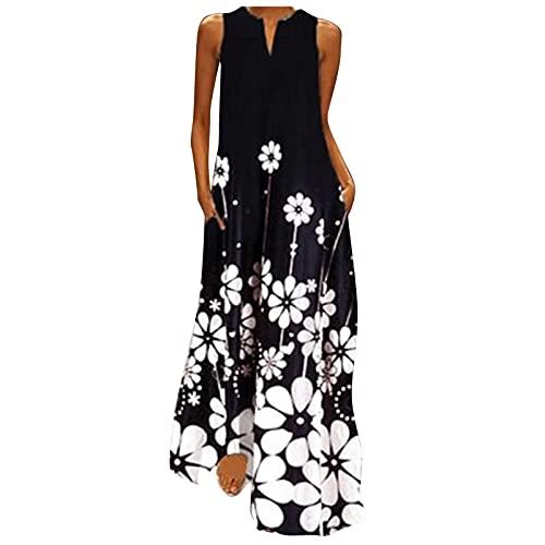 iZZZHH Summer Dresses for Womens Casual V-Neck Print Long Sleeveless Loose Maxi Dress