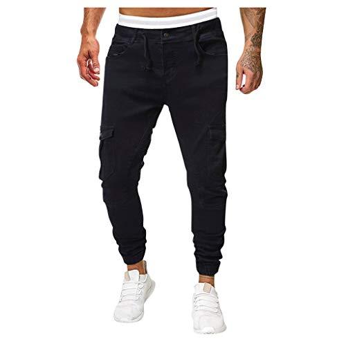 ITISME Herren Jeans Regular Fit, Skinny Stretch Denim Pants Distressed Ripped Freyed Slim Fit Jeans TrousersHerren Leinenhose Leinen Hose Loose Freizeit Flachs Kordelzug Hosen Pants (Large, Khaki05)