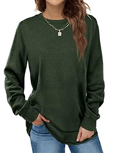 Womens Long Sleeve Tops Crew Neck Loose Fit Cute Sweatshirts Moss Green M