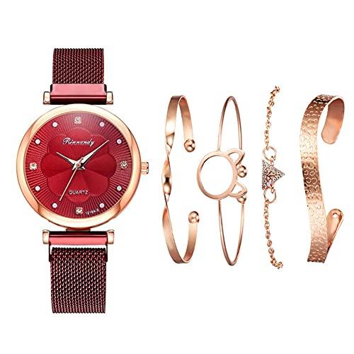 qwert Reloj de Cuarzo para Mujer Reloj analógico para Mujer con Correa de cerámica Reloj de Moda para Mujer Reloj de Pulsera para Mujer,Rojo