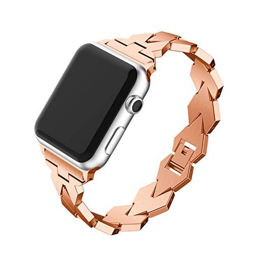 Fhony Correa Compatible con Apple Watch 38Mm 40Mm 42Mm 44Mm Correa de Acero Inoxidable Reemplazo de Banda con Hebilla de Metal para Iwatch Series 6 5 4 3 2 1 Correa de Metal,Rose Gold,42/44mm