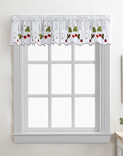 CHF Strawberry Garden Kitchen Curtain Window Valance, Rod Pocket, 60W x 14L inch, Red
