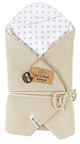SweetDreams Baby Einschlagdecke, Schlafsack, Wickeldecke für Neugeborene und Kleinkinder, Baumwolle 0-12 Monate, super weich, 75 x 75 cm (1024) (Beige/Dots)