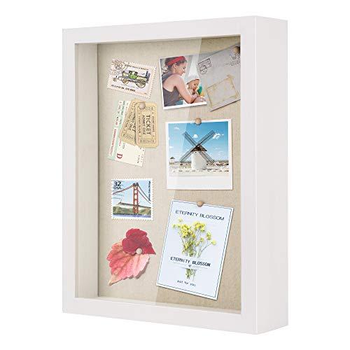 Love-KANKEI 3D Bilderrahmen Holz 28 x 35 cm Shadow Box Objektrahmen zum Befüllen Geschenk für Familie Freunde usw. (Weiß)