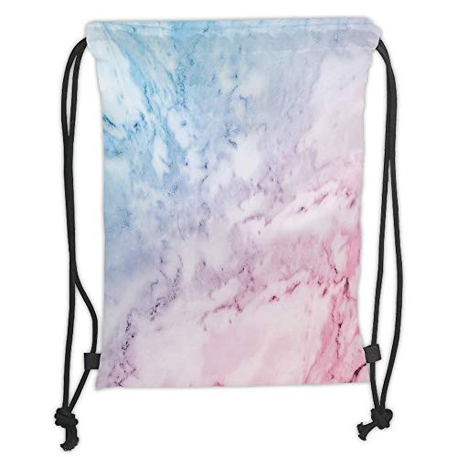 Fevthmii Drawstring Backpacks Bags,Marble,Pastel Toned Cloudy Hazy Crack Lines Stained Antique Shabby Chic Design,Light Blue Baby Pink Soft Satin,5 Liter Capacity,Adjustable String Closure,