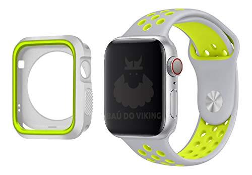 Kit Pulseira Capa Case Silicone Furos Cinza Volt, compatível com Apple Watch 38mm Pulseira Grande