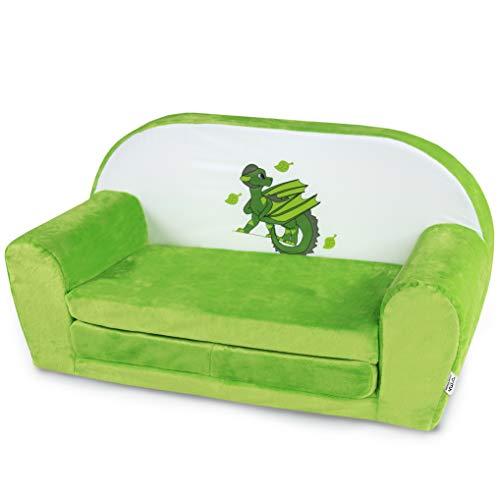 MuseHouse - Kindersofa aus Plusch mit Drachenmotiv. Sofa Märchenfigur. Kuschelig weicher Schaumstoff. Kindercouch zum Spielen. Farbenfroh mit Spielmotiv (Earth)