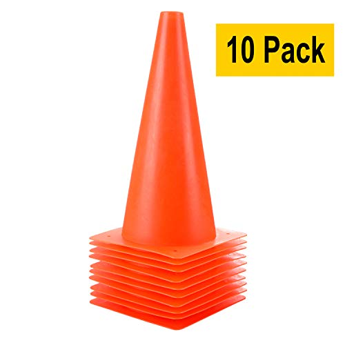 12 inch Traffic Cones, Plastic Training Soccer Cones - 10 Pack of Sport Cones for Indoor/Outdoor Activity & Festive Events (Set of 10 Pack, Orange)