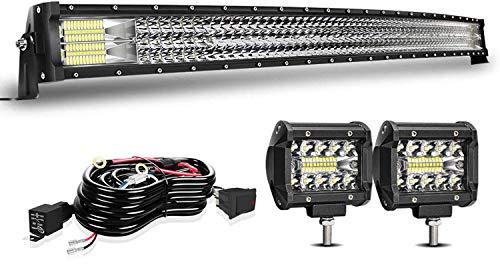 42inch Curved LED Light Bar +2pcs 4Inch Light Pods For Can am x3 maverick Honda pioneer Polaris Ranger Ford Dodge Ram GMC UTV ATV Grand Cherokee XJ