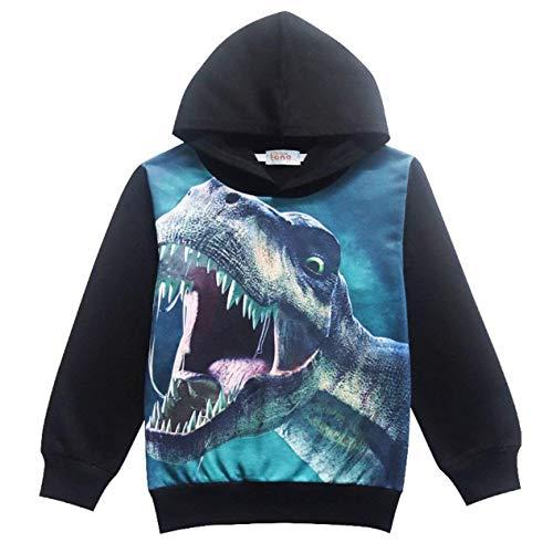 Tkria - Sudadera con capucha para niños con capucha y estampado de dinosaurio, de manga larga, con capucha para exteriores Negro Negro ( 5-6 Años