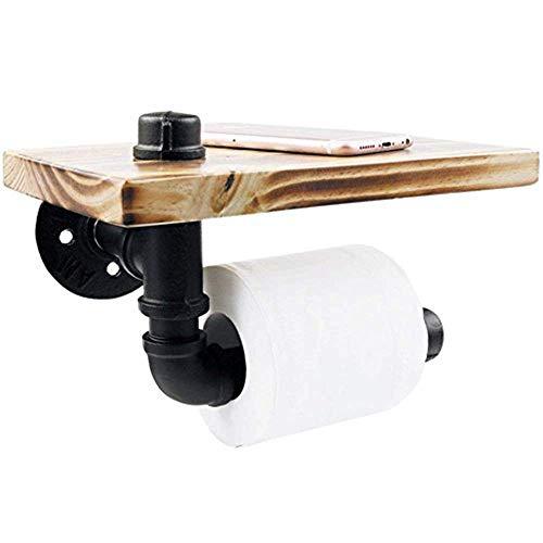 yk-123 Toilettenpapierhalter, Retro Stil WC Wasser Rohr Haken, Multifunktions-Wand montiert für Hanging Artikel Rack Klassisch WC-Ersatzpapierrollenhalter (Schwarz)