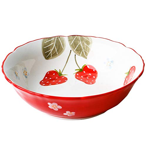 Nette Frucht Salatschüssel im 2er-Pack oder 4er Pack Keramiknapf Frühstück Schüssel kreativer Erdbeere Schüssel Haushalt Spitze Dessertschale Japanischen Geschirr Steak Disc 600ml ( Size : 4 pcs )