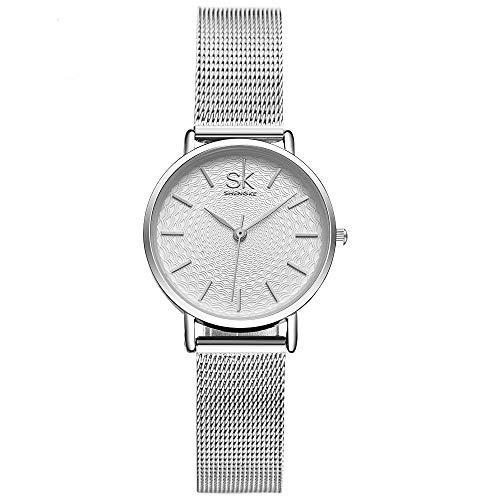 SHENGKE- Reloj de Pulsera para Mujer, Correa de Malla, Elegante, para Mujer, Estilo Simplicidad (K0006-silver-mesh Band)