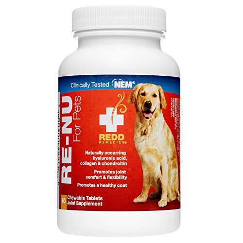 Redd Remedies  RE-NU for Pets  Joint Pain Relief Support for Dogs with Glucosamine  Chondroitin and Collagen from NEM  Calcium and Brewer's Yeast  60 Chewable Tablets  Made in The USA