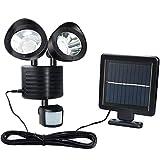Luz LED Solar Exterior 22 LED, IP65 Impermeable con sensor de movimiento Lámpara Inundación Ajustable de Doble Seguridad Para Exteriores Para Puerta de Entrada Patio Garaje Jardín Acera