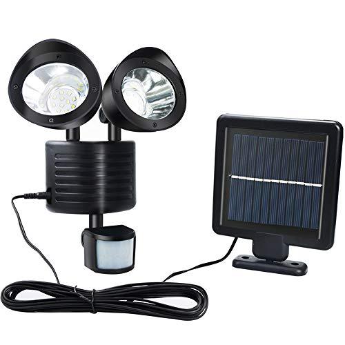 Solljus utomhus, säkerhetslampa 22 LED IP65 vattentät, 20 LM, justerbar, utomhus med dubbla huvuden säkerhet översvämningsljus för ytterdörr gård garage trädgård gångväg parkeringsplats (svart)
