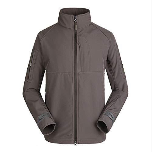 GL SUIT Herren-Outdoor-Jacke, Militär-Fleece, wasserdicht, Softshell, mehrere Taschen, Winddicht, warme Commander-Jacke, Herbst und Winter S grau