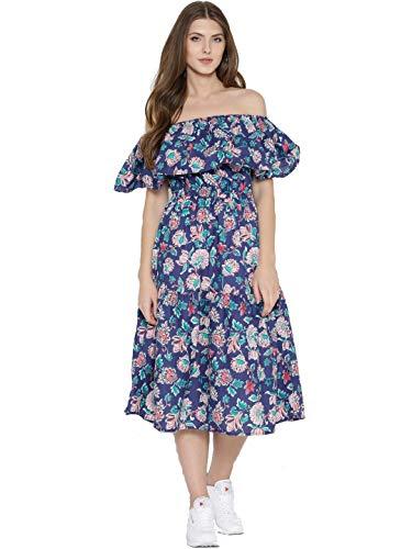 SERA Women's Cotton Strapless Midi Dress