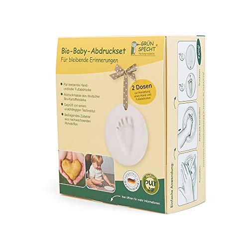 Grünspecht 679-00 Bio-Baby-Abdruckset, 2 Dosen, Herstellung eines Baby-Hand- und Fußabdrucks inklusive Zubehör