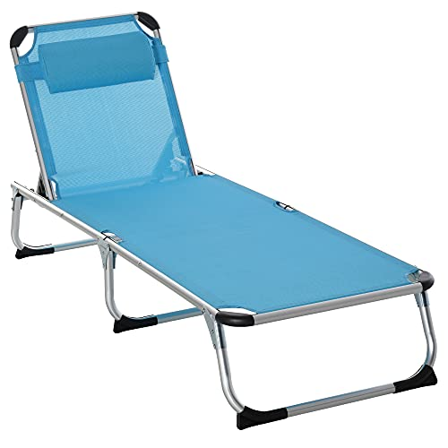Outsunny Folding Outdoor Reclining Sun Lounger Chair w/Pillow Aluminium Frame Foot Pads Camping Garden Adventure Bed Cot Blue