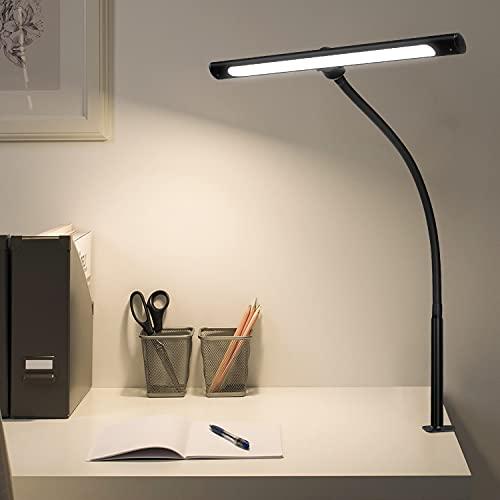 Lámpara de escritorio LED de 12 W, 600 lúmenes, brazo de cisne flexible con 5 modos de color, lámpara de escritorio para el trabajo en casa y la oficina.