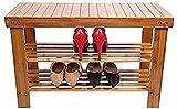 QZMX Estante de Zapatos Zapatero 3 Nivel de bambú Banco Zapato, Organizador de Zapatos Rack Ideal for Vivir Corredor de Habitaciones Estante
