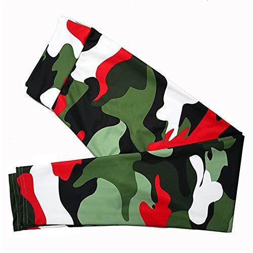 Zjcpow Pantalones de yoga para mujer, pantalones de yoga de alta calidad, pantalones deportivos, estampado de camuflaje, cintura de ejercicio, gimnasio, medias activas (color: rojo y verde, tamaño: S)