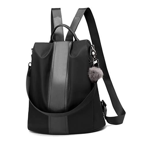 Women Backpack Purse Waterproof Nylon Anti-theft Rucksack Lightweight Shoulder Bag (Black Large)