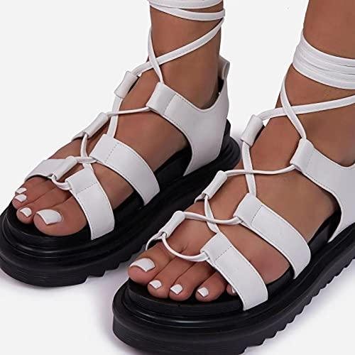 QAZW Zapatos De Sandalias De Cuña De Plataforma Cómoda con Punta Abierta y Correa De Tobillo Lindo para Mujer,White-43