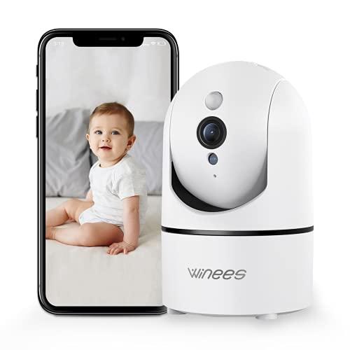 Winees Caméras Surveillance WiFi Interieur Camera IP 1080P, 360° Maison Sécurité Cam avec Vision Nocturne, Détection de Mouvement, Audio Bidirectionnel Compatible Alexa pour Bébé/Agées/Chien