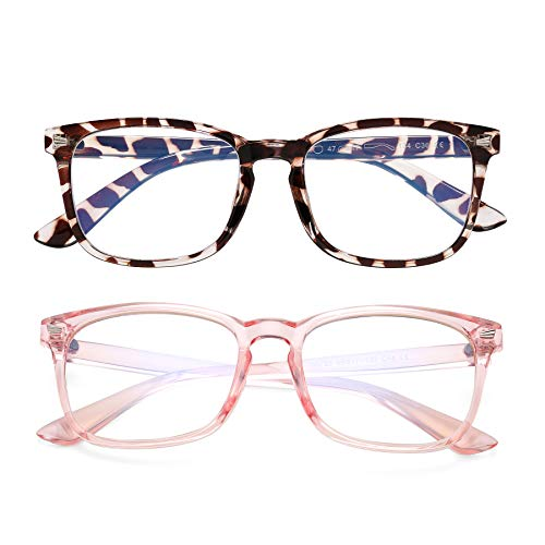 2Pack Blue Light Blocking Glasses for Kids Unbreakable Computer Screen Glasses for Boys & Girls - 2 Pack(Transparent Pink+ Leopard)