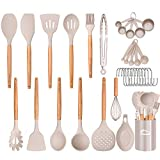Aybloom 25 PCS Silicone Kitchen Cooking Utensil Set, Woodle Handle BPA Free Non Toxic Non-stick Heat...