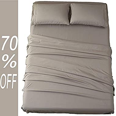Sonoro Kate Bed Sheet Set Super Soft Microfiber 1800 Thread Count Luxury Egyptian Sheets 18-Inch Deep Pocket Wrinkle and Hypoallergenic-4 Piece(King Grey)